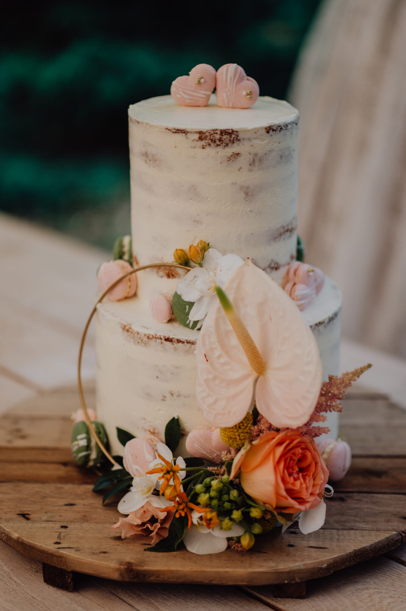 Hochzeitstorte mit Macarons